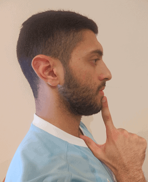 Neck stretches - Chin tuck end position